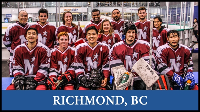 Hockey in Richmon, Greater Vancouver, League team and player registration, stats, schedules. For men and women to play hockey in a fun and safe environment.